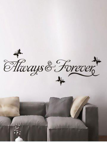 Letter Words Removable Living Room Vinyl Wall Stickers Custom - Black - 48.5*68cm