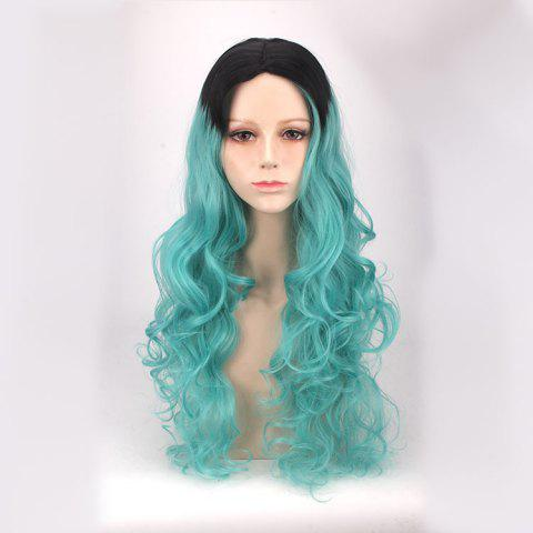 Long Middle Part Wavy Ombre Color Synthetic Cosplay Anime Wig - Blue And Black