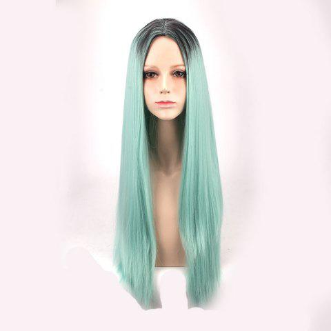 Trendy Long Middle Part Straight Colormix Synthetic Cosplay Anime Wig