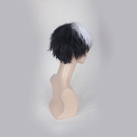 Online Short Side Bang Straight Synthetic Cosplay Wig - WHITE AND BLACK  Mobile