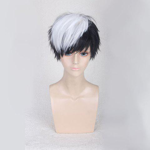 Store Short Side Bang Straight Synthetic Cosplay Wig - WHITE AND BLACK  Mobile