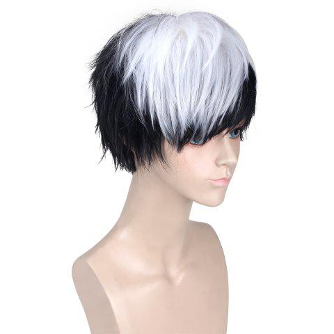 New Short Side Bang Straight Synthetic Cosplay Wig - WHITE AND BLACK  Mobile
