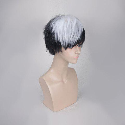 Shop Short Side Bang Straight Synthetic Cosplay Wig - WHITE AND BLACK  Mobile