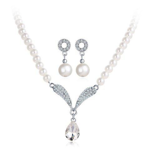 Rhinestone Artificial Pearl Beaded Bridal Necklace and Earrings - White