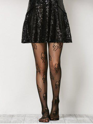 Outfits See-Through Floral Fishnet Pantyhose - ONE SIZE BLACK Mobile