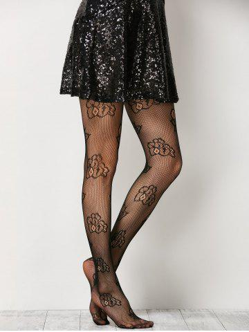 Fancy See-Through Floral Fishnet Pantyhose - ONE SIZE BLACK Mobile
