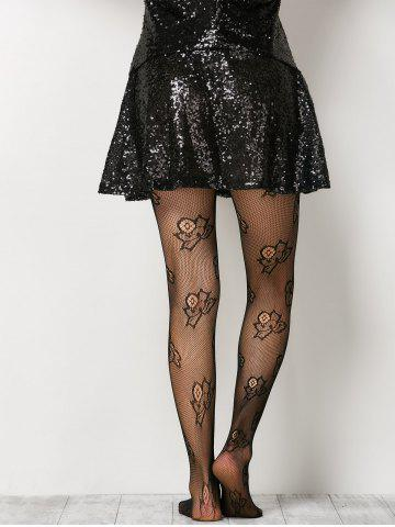 Store See-Through Floral Fishnet Pantyhose - ONE SIZE BLACK Mobile