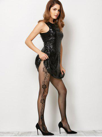 Chic See-Through Side Floral Fishnet Pantyhose - ONE SIZE BLACK Mobile