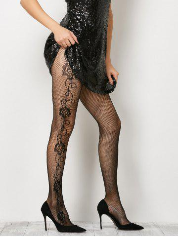See-Through Side Floral Fishnet Pantyhose - Black - One Size
