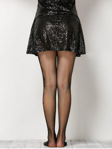 Outfit See-Through Side Floral Fishnet Pantyhose - ONE SIZE BLACK Mobile