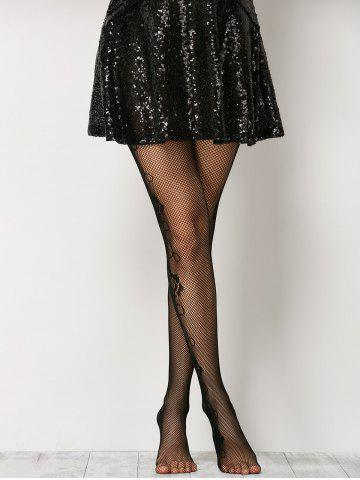 Store See-Through Side Floral Fishnet Pantyhose - ONE SIZE BLACK Mobile
