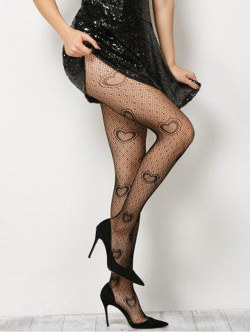 Buy Heart See-Through  Fishnet Pantyhose - ONE SIZE BLACK Mobile