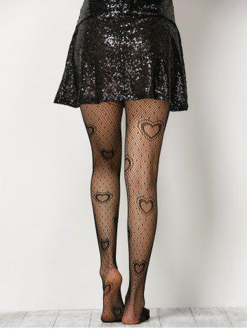 Discount Heart See-Through  Fishnet Pantyhose - ONE SIZE BLACK Mobile