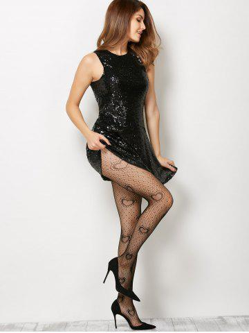 Affordable Heart See-Through  Fishnet Pantyhose - ONE SIZE BLACK Mobile