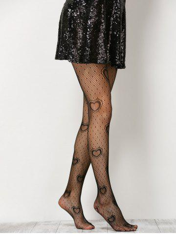 Chic Heart See-Through  Fishnet Pantyhose - ONE SIZE BLACK Mobile