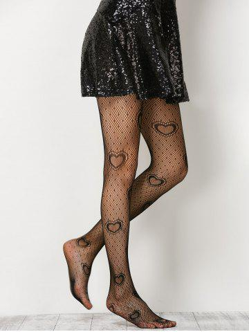 Outfit Heart See-Through  Fishnet Pantyhose - ONE SIZE BLACK Mobile