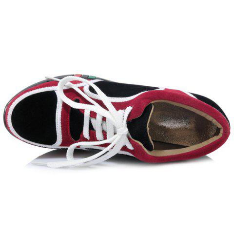 Buy Hidden Wedge Colour Block Athletic Shoes - 37 BURGUNDY Mobile