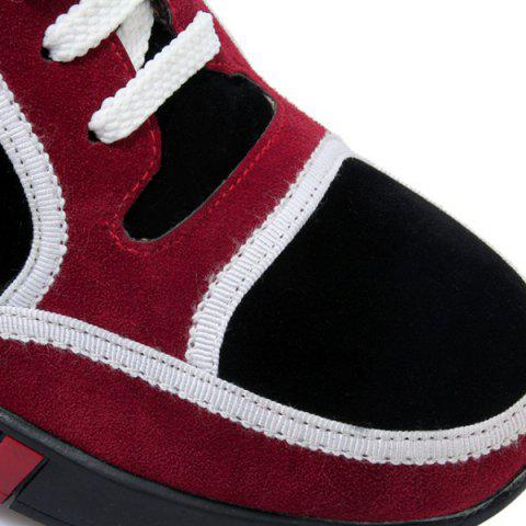 Hot Hidden Wedge Colour Block Athletic Shoes - 37 BURGUNDY Mobile