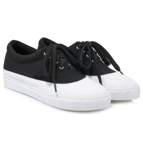 Outfits Tie Up Color Block Athletic Shoes - 39 BLACK Mobile