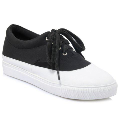 Best Tie Up Color Block Athletic Shoes - 39 BLACK Mobile