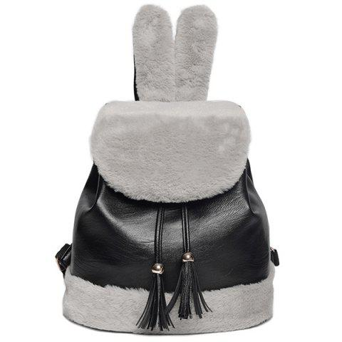 Shops Rabbit Ear Faux Fur Panel Backpack BLACK