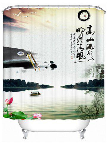 Ink-Painting Nature Scenery Waterproof Shower Curtain - Colormix - 180*200cm
