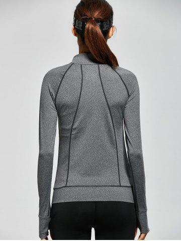 Affordable Raglan Sleeve Pockets Zip Up Running Jacket - XL GRAY Mobile