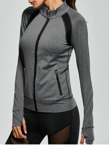 Unique Raglan Sleeve Pockets Zip Up Running Jacket - XL GRAY Mobile