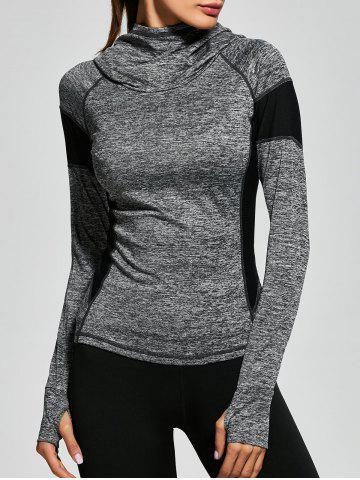 Online Raglan Sleeve Panel Gym Hoodie - S GRAY Mobile