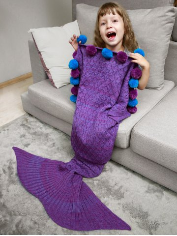 Openwork Pineapple Crochet Mermaid Blanket Throw with Pom Ball For Kids - Purple - One Size