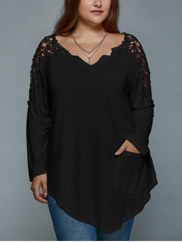 Plus Size Lace Insert Long Sleeve Tunic T-Shirt - Black - 5xl