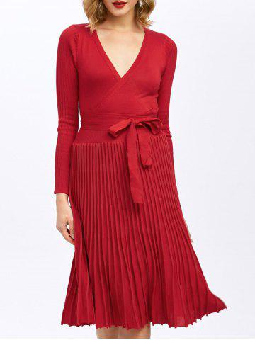 Chic Pleated Surplice Knee Length Long Sleeve Jersey Dress
