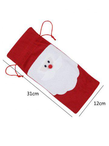 Outfit Christmas Supplies Table Decoration Santa Claus Wine Bottle Cover Bag - RED  Mobile