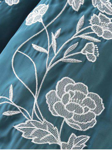 Store Flower Embroidered Zipper Bomber Jacket - M LAKE BLUE Mobile