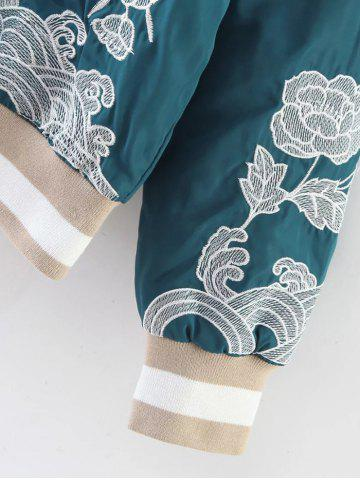 Buy Flower Embroidered Zipper Bomber Jacket - M LAKE BLUE Mobile