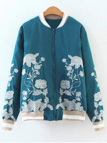 Shops Flower Embroidered Zipper Bomber Jacket - M LAKE BLUE Mobile