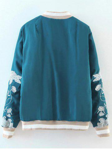 Sale Flower Embroidered Zipper Bomber Jacket - M LAKE BLUE Mobile