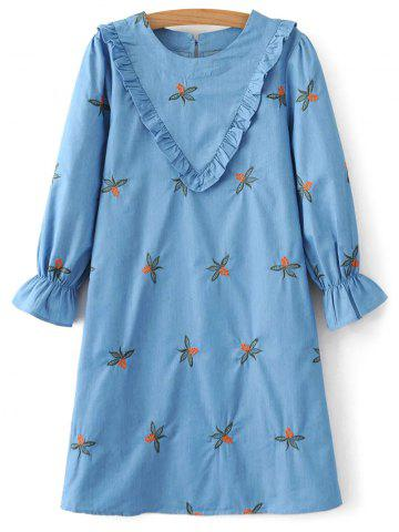 Chevron Front Embroidered Tunic Dress - BLUE L