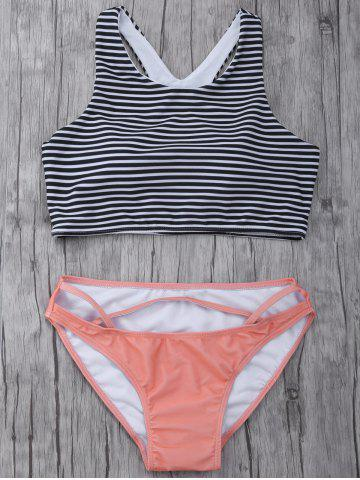 Hot High Neck Striped Cutout Bikini Set