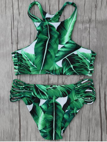 Chic High Neck Leaf Print Racerback String Bikini Set GREEN M