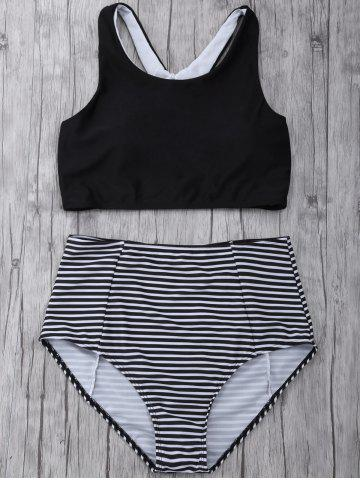 Sale Striped High Waisted Padded Sports Bikini with Racerback Crop Top BLACK M