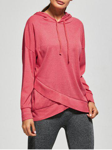 Drop Shoulder Drawstring Crossover Hem Sport Hoodie - Red - S