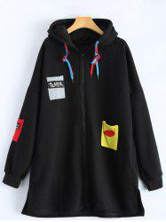 Patchwork Plus Size Hooded Zip Up String Coat - BLACK