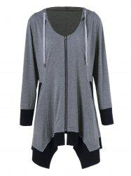 Plus Size Zip Up Asymmetrical Hoodie - BLACK AND GREY