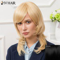 Siv Long Inclined Bang Layered Straight Human Hair Wig