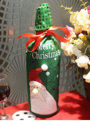 Christmas Santa Claus Wine Bottle Cover Bag Table Decoration - GREEN
