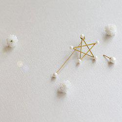 Asymmetric Faux Pearl Pentagram Earrings