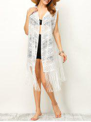 Sleeveless Cut Out Fringe Cover-Up -