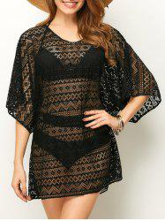 Openwork See Thru Beach Tunic Cover Up - BLACK