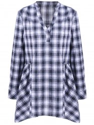 Plus Size Split-Neck Plaid Blouse